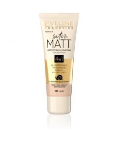 EVELINE Satin Matt 4w1 Podkład 101 Ivory 30ml