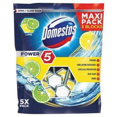 Domestos Power 5 kostka toaletowa Lime 5x55g - 1