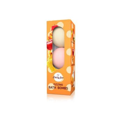 Delia Dairy Fun Zestaw 3 Musujących Kul Do Kąpieli Jabłko-Mleko-Miód - 1